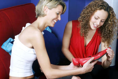retail therapy: Women shopping for shoes.