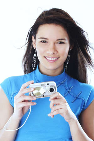 Woman holding a camera. Stock Photo - 3191324