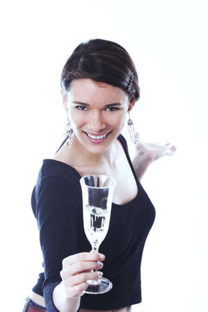 Woman holding a glass of water. Stock Photo - 3191339