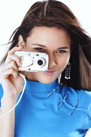 Woman taking pictures with her camera. Stock Photo - 3191343