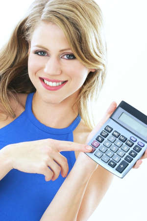 estimation: Woman holding a calculator.