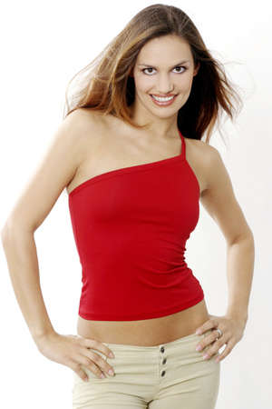 Woman in red top posing for the camera. Stock Photo - 3191358