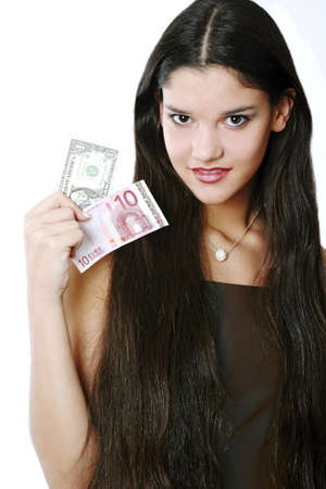 Woman holding cash. Stock Photo - 3191379