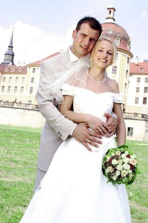close ups: Newly wed couple.