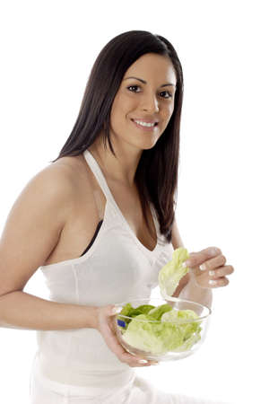 Woman holding a bowl of vegetables. Stock Photo - 3191418