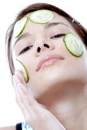 Woman doing facial treatment.
