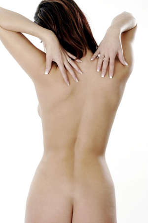 Back shot of a naked woman.
