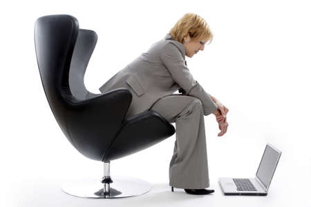 laptop: Businesswoman using laptop.