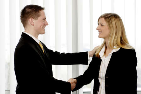 Businessman and businesswoman shaking hands. Stock Photo - 3191580