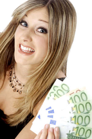 Businesswoman holding bank notes. Stock Photo - 3191598