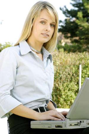 Businesswoman using laptop. Stock Photo - 3191611