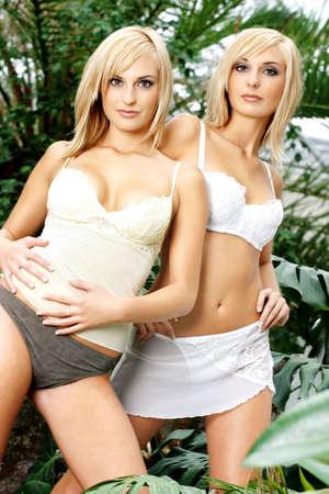 inner wear: Sexy twin sisters.