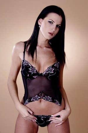 Mujer sexy en lencería transparente Foto de archivo - 3191692