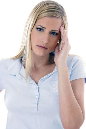 Woman having a terrible headache