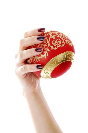Hand holding a Christmas ball ornament Stock Photo - 3191965