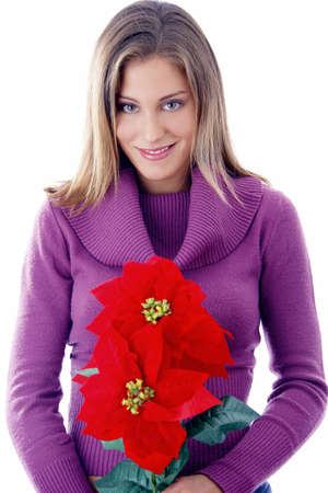 Woman holding poinsettia Stock Photo - 3191974