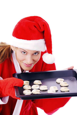 Woman holding freshly baked cookies in a tray Stock Photo - 3191975