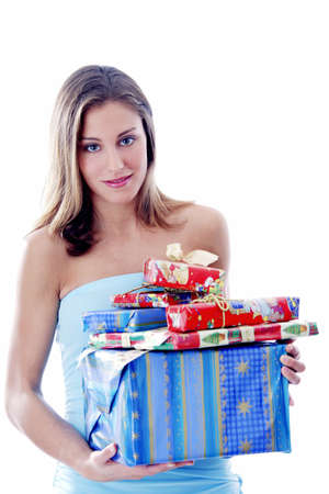 Woman holding presents Stock Photo - 3191979