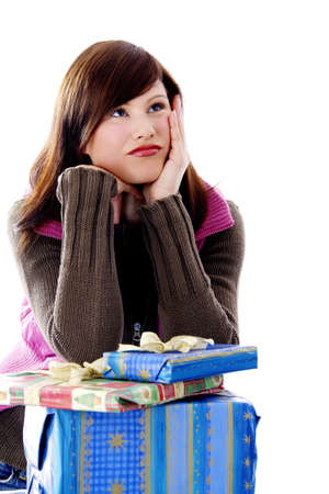 Woman with her presents, looking away Stock Photo - 3191985