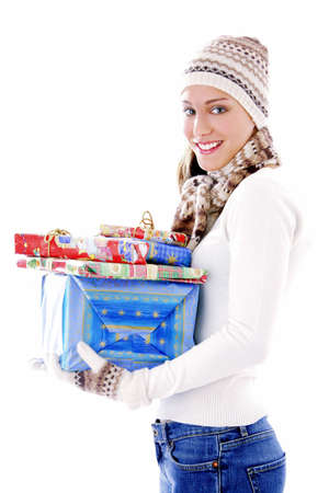 Woman holding presents Stock Photo - 3191990