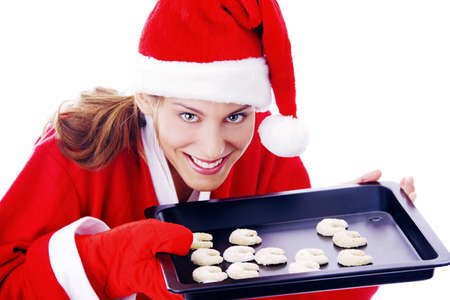 Woman holding freshly baked cookies in a tray Stock Photo - 3191993