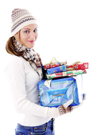 Woman holding presents Stock Photo - 3192005