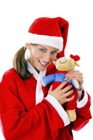 soft toy: Woman in santa suit holding soft toy