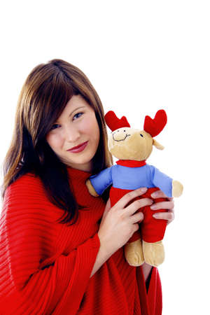 soft toy: Beautiful woman holding soft toy