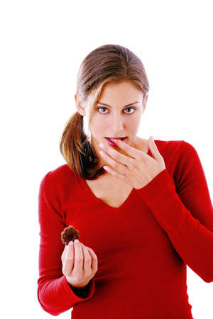 Woman holding Christmas cookie