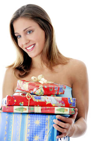 Woman holding presents Stock Photo - 3192029
