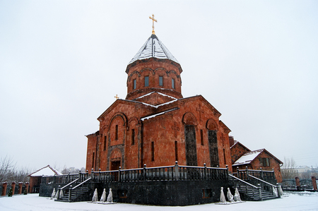 Armenian church in early winter in city Tver, Russia