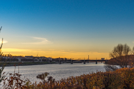 Sunset over the river Volga in Tver, Russia