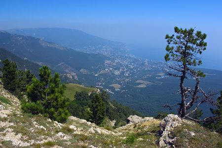 Panorama of Yalta from the height of Ai-Petri plateau Stock Photo - 7688702