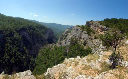 Large canyon of Crimea Stock Photo