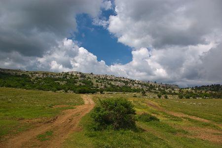 Clouds over the Ai-Petri plateau Stock Photo