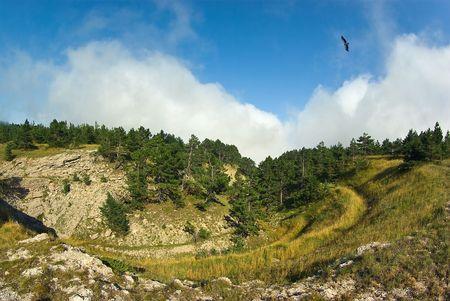 Flying over Ai-Petri plateau Stock Photo