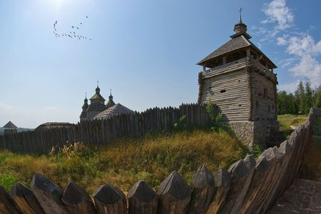 A flock of birds over the Zaporozh Stock Photo - 7899054