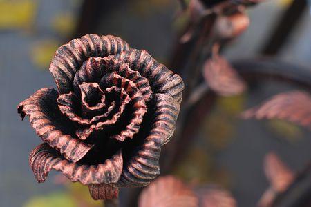Decorative forged rose. Stock Photo
