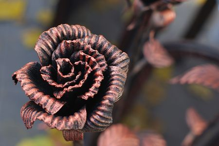 Decorative forged rose. Stock Photo