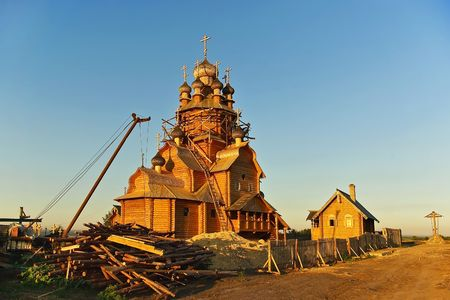 Construction of a new church. Stock Photo