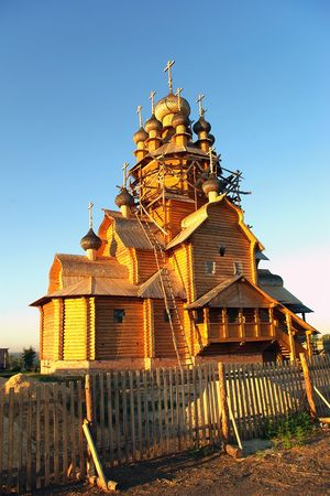 Construction of a new wooden church Stock Photo