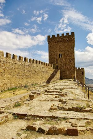 On the walls of the Genoese fortress in Sudak photo