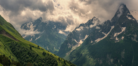 Morning in the mountains of the Caucasus