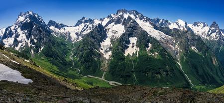 Greater Caucasus.Photo shot from the mountain Mussa-Achitara in Dombay