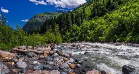 Stony shore Amanauz.Photos shot in the Caucasus Mountains, Dombay. Stock Photo