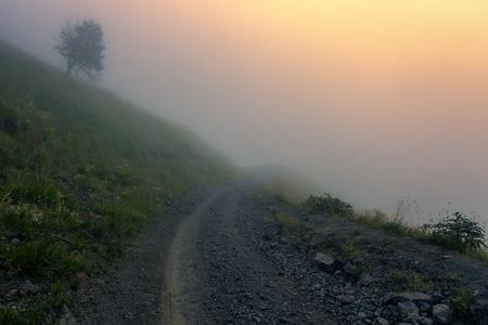 Misty sunset of Elbrus