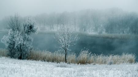 Winter fog in the river.