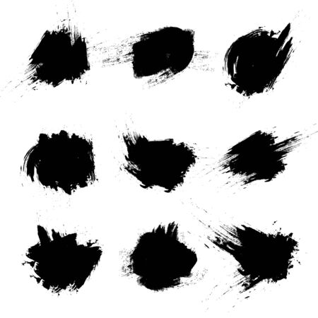 Set of vector black brush strokes on white background. Vector Illustration