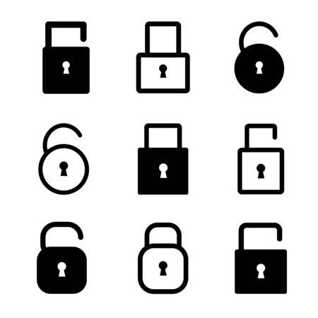 Lock and unlock icon set. Vector symbol on white background.