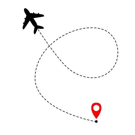 Airplane dotted line on white background. Airplane route. Tourist route line. Ilustrace